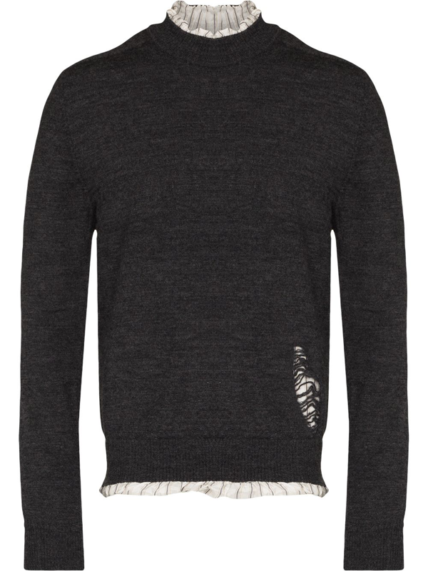 Maison Margiela Layered Distressed Sweater In Grau