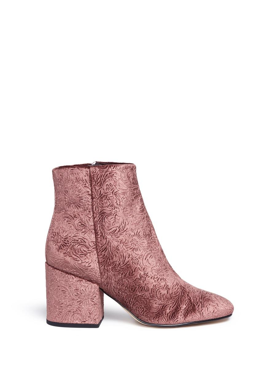 40bb3020b649 Sam Edelman  Taye  Floral Jacquard Velvet Ankle Boots In Wine