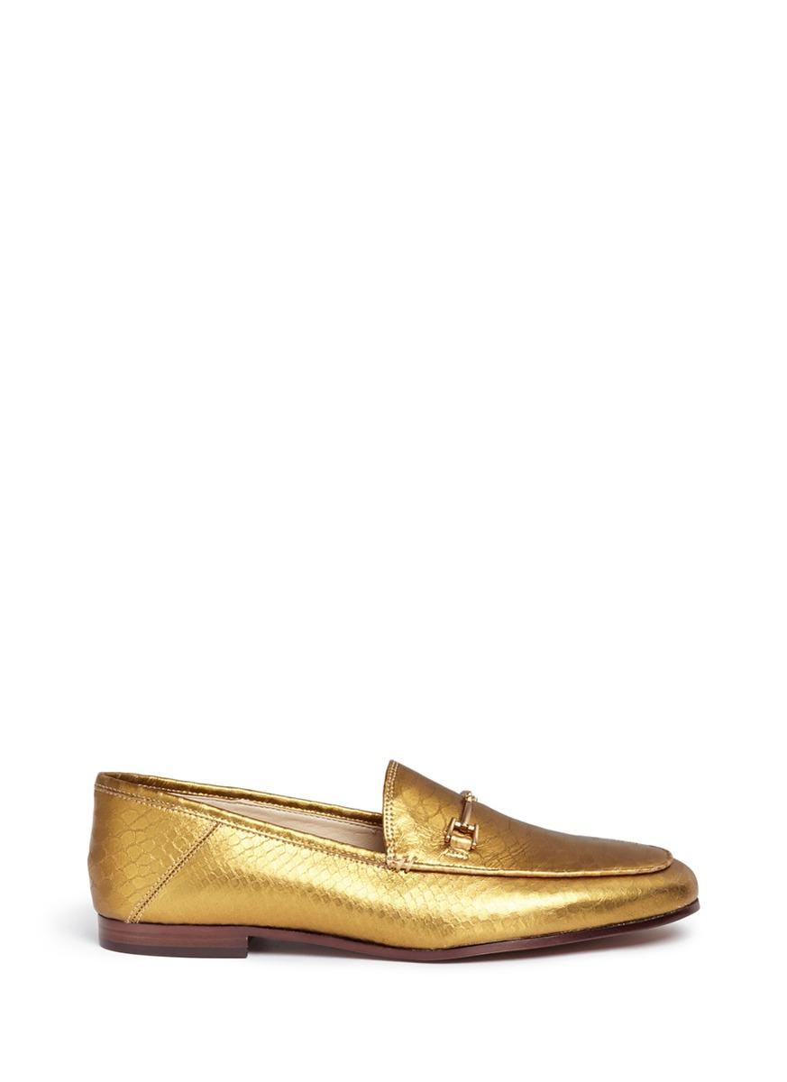 9064d1b4c765 Sam Edelman  Loraine  Metallic Snake Embossed Leather Step-In Loafers In  Gold Boa