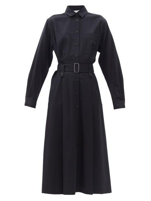Max Mara Emy Belted Wool Midi Dress In Blu Marino