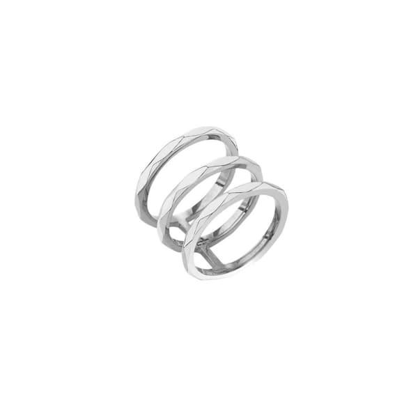 Edge Of Ember Facet Cage Silver Ring