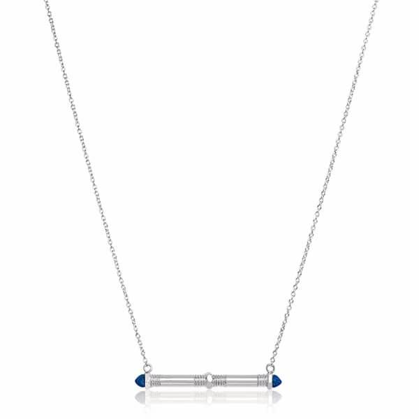 Edge Of Ember Bolt Bar Lapis Necklace
