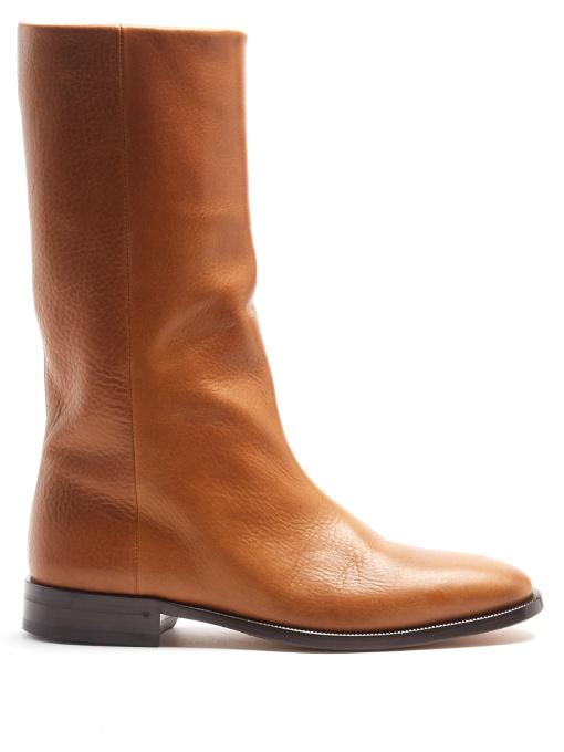 Saint Laurent Matt Leather Boots In Tan