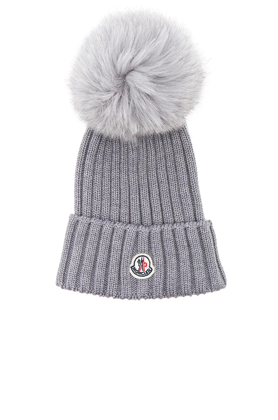a4c17a9a84a Moncler Wool Knit Beanie Hat W  Fox Pompom In Grey
