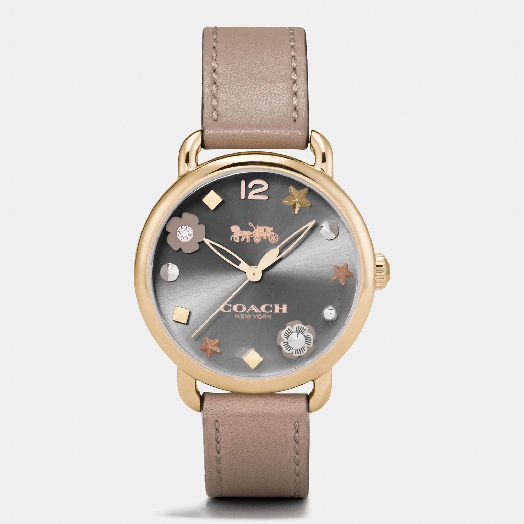 Coach Delancey Watch With Charm Dial, 36mm In Stone