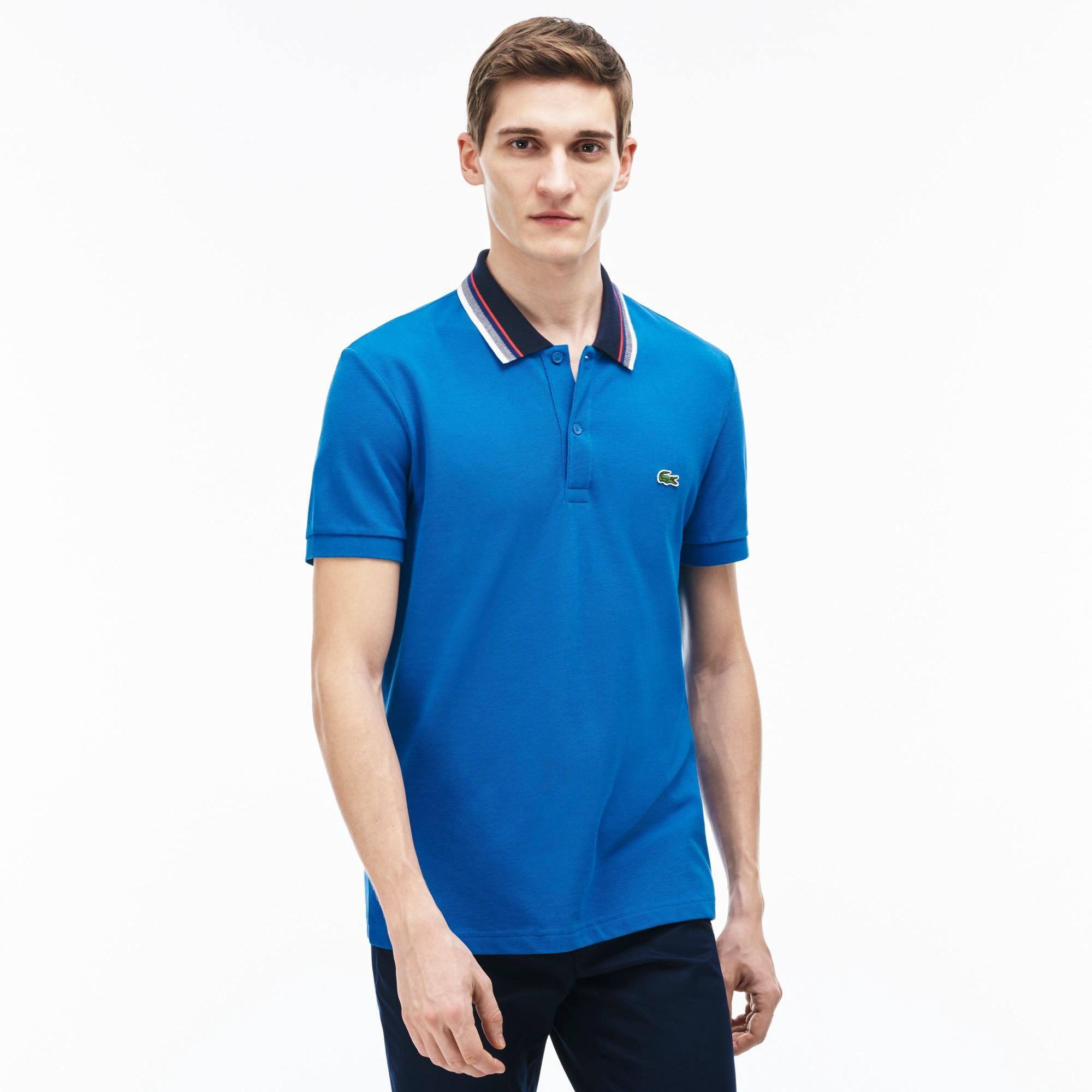 a0a7f9b2 Lacoste Men's Regular Fit Petit PiquÉ Striped Collar Polo Shirt - Sapphire  Blue