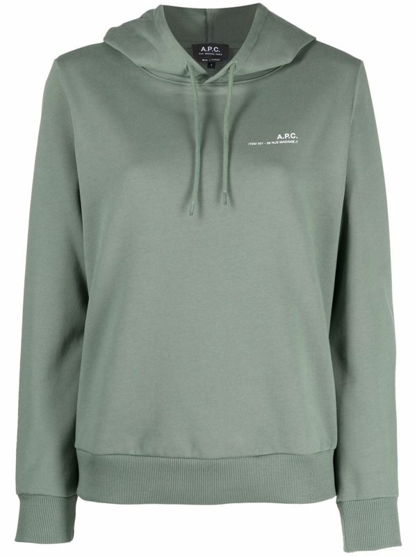 A.p.c. Item 001 Hoodie With Logo Print In Green
