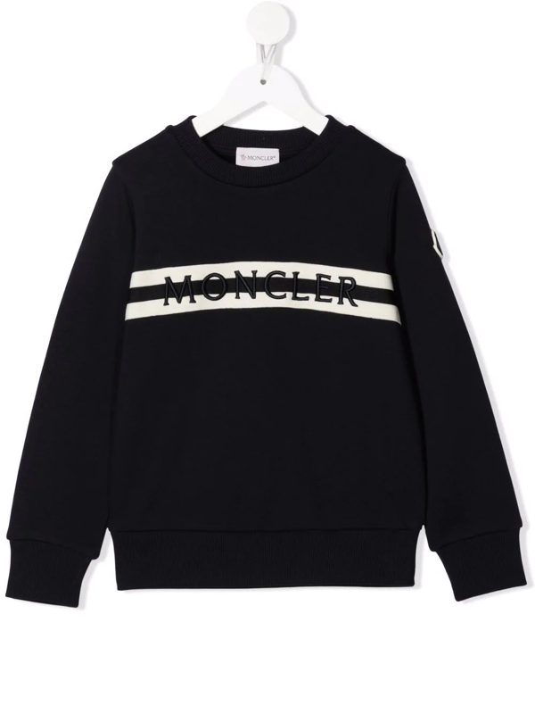 Moncler Crewneck Sweatshirt With Embossed Writing In 蓝色
