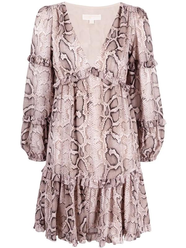 Michael Michael Kors Snakeskin-print Mini Dress In Nude