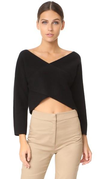 846742ac711 Diane Von Furstenberg Cashmere Wrap Crop Top In Black   ModeSens