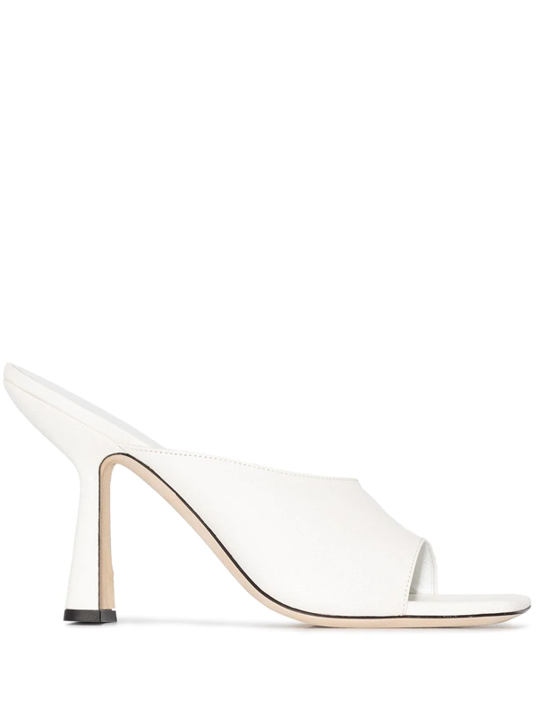 By Far Zaya' Single Band Square Toe Leather Heeled Sandals In White