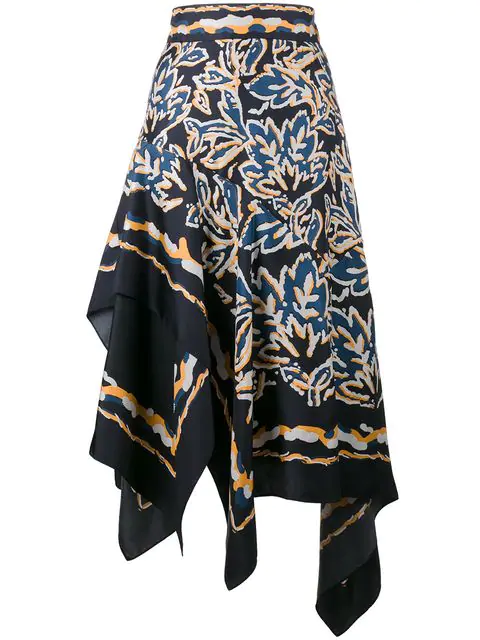 Peter Pilotto Asymmetric Silk Twill Scarf Skirt In Blue