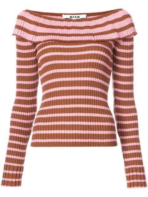 d6d9d372a995 Msgm Striped Off Shoulder Jumper