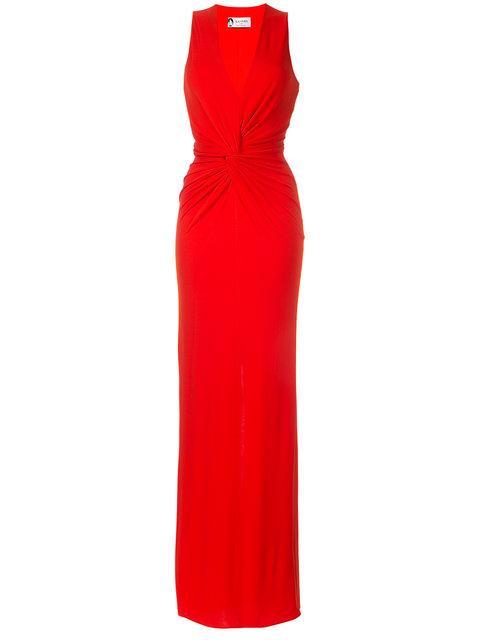 Lanvin Knot Waist Floor-length Gown In Lillie