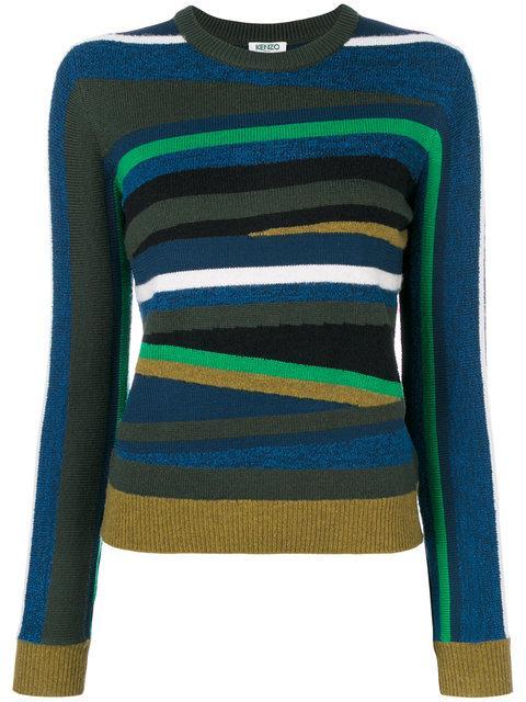 Kenzo Multicolor Broken Stripes Sweater In Navy Blue