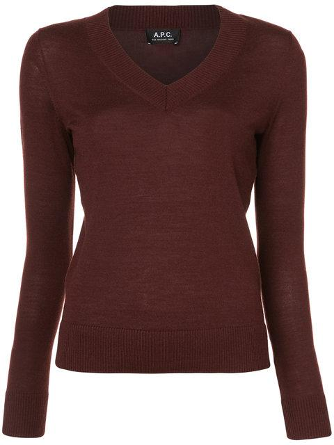 A.p.c. V-neck Pullover - Red
