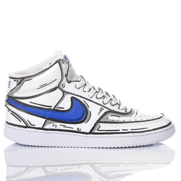 Nike Men's Comicsblue1982 White Leather Hi Top Sneakers