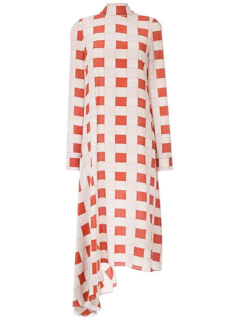 Marni Checked Ruffle Hem Dress In Neutrals