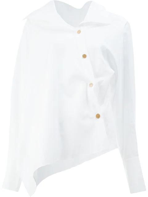 Peter Pilotto Asymmetric Cotton Shirt In White