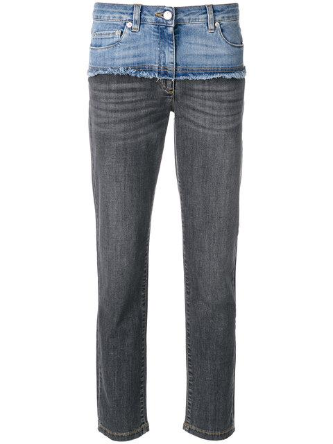 Moschino Deconstructed Cropped Jeans In Blue