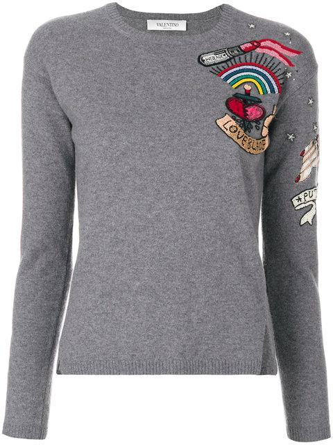 Valentino Beaded Jumper - Grey