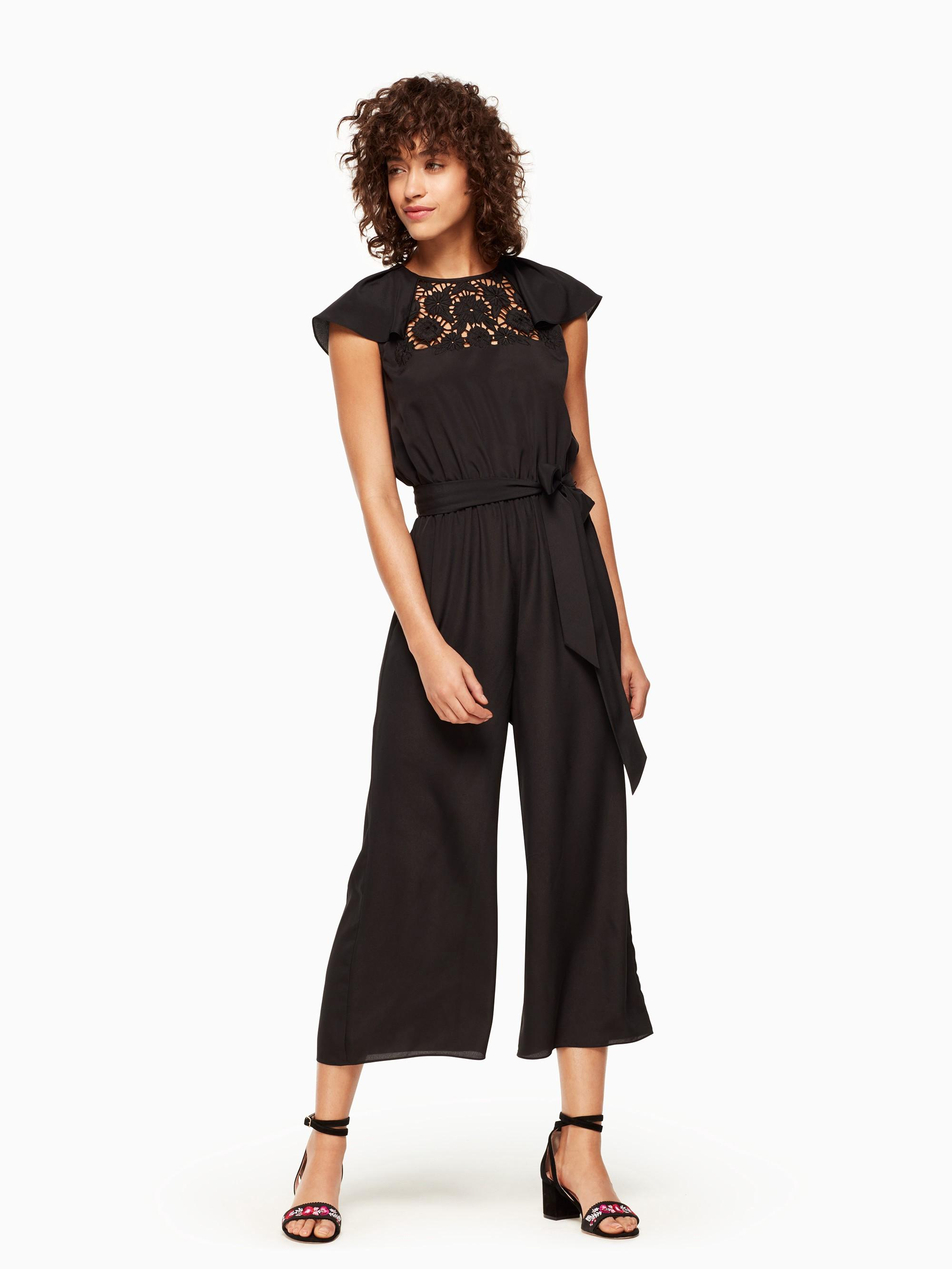 Kate Spade Lace Embroidered Jumpsuit In Black