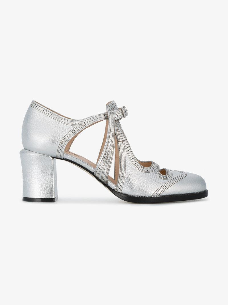 Fendi Silver Mary Jane 70 Leather Pumps In Metallic