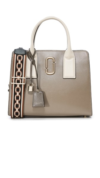 Marc Jacobs Big Shot Leather Tote In French Grey Multi