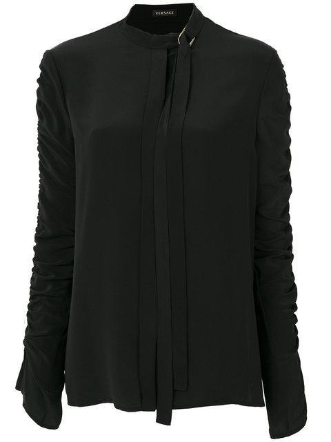 Versace Ruched Sleeve Shirt - Black
