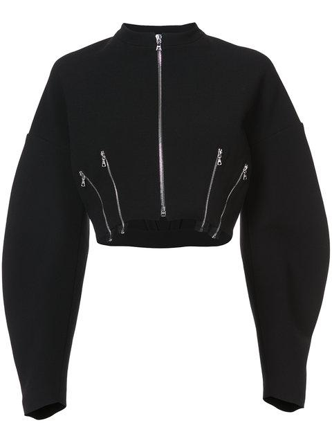 Tome Zip Detail Twill Cropped Bomber Jacket In Black