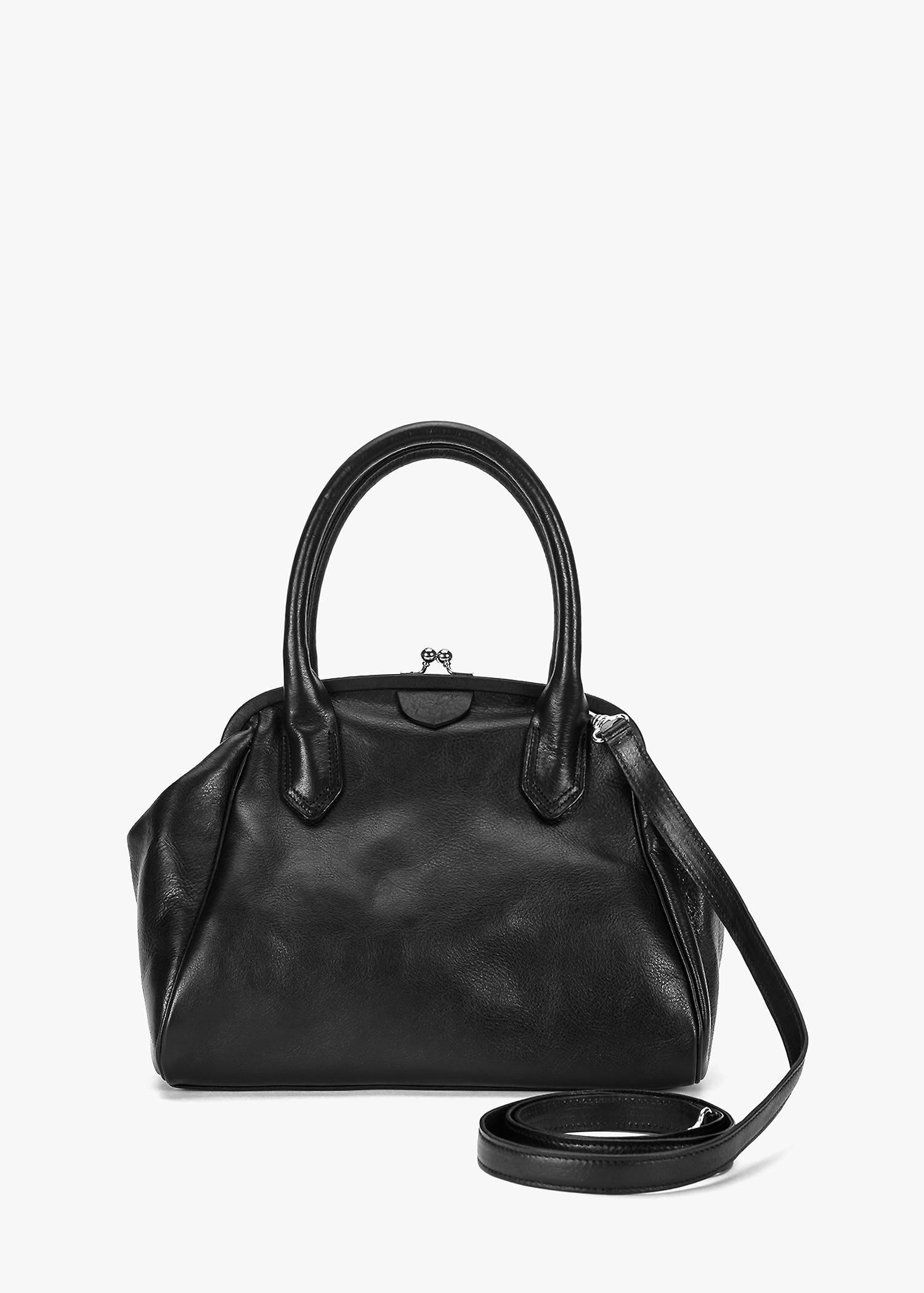 Y's Round Clasp Hand Bag In Black
