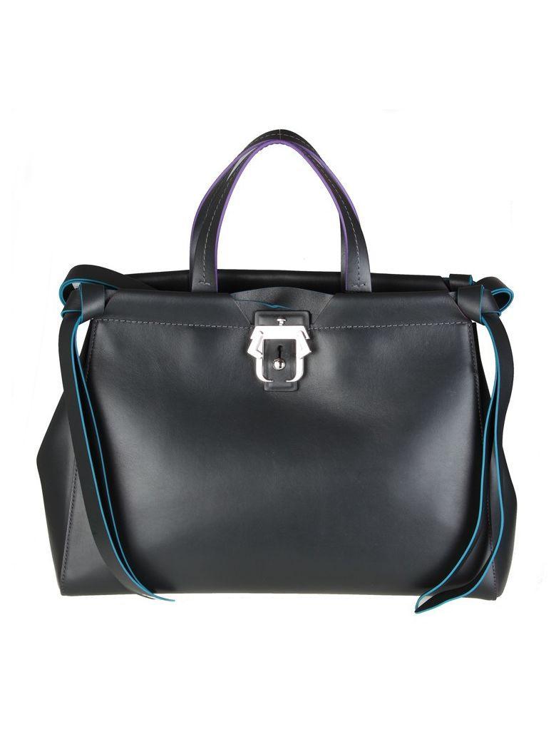 Paula Cademartori Shopping Rachel In Anthracite Colored Leather