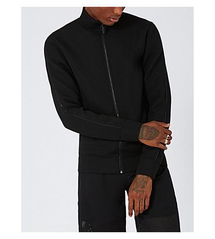 Topman Aaa Neoprene Zipper-up Track Jacket In Black
