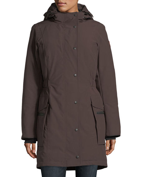 Canada Goose Kinley Hooded Cinched-waist Parka Coat In Charred Wood