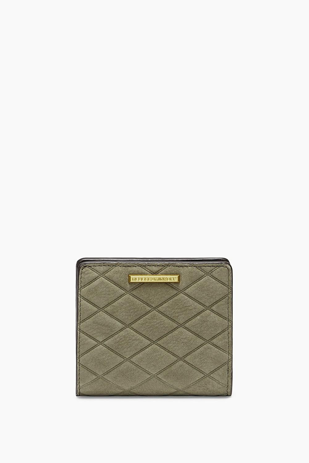 Rebecca Minkoff Embossed Nubuck Snap Wallet In Olive