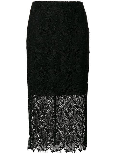 Diane Von Furstenberg Lace Overlay Pencil Skirt In Black