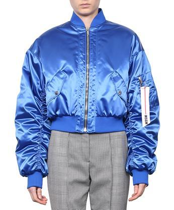 Msgm Ruched Sleeve Cropped Satin Bomber Jacket In Blue