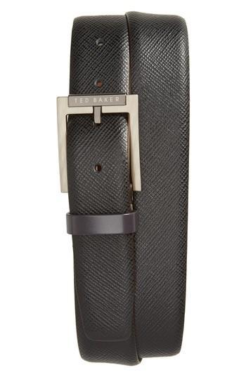 Ted Baker Parmer Leather Belt In Black