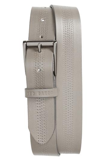 Ted Baker Brambel Center Texture Belt In Grey