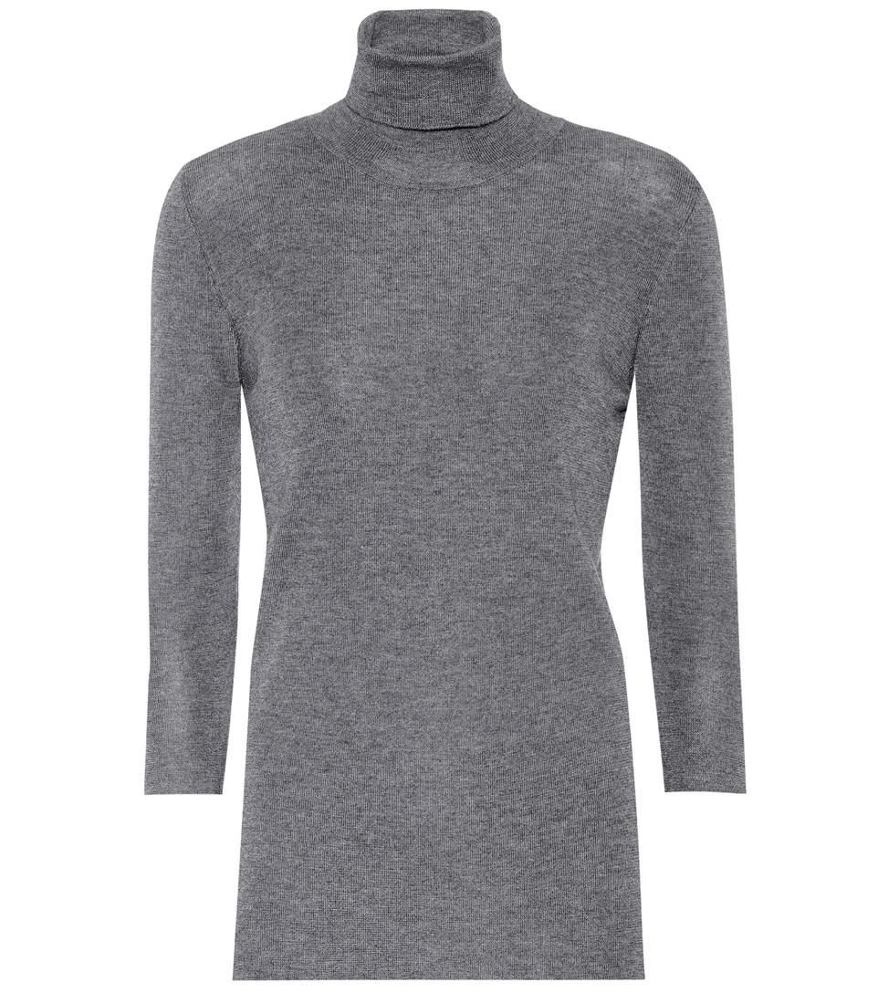 Prada Cashmere And Silk Sweater In Grigio