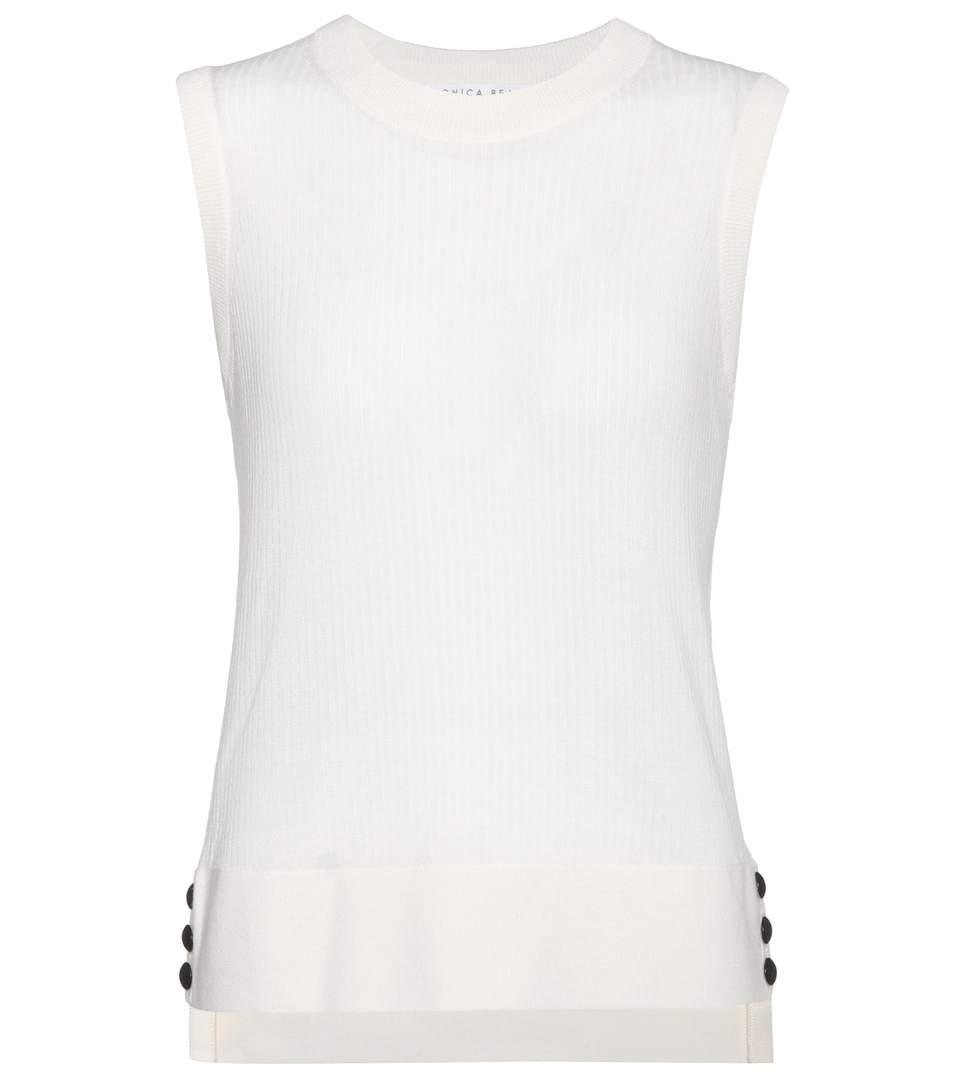 Veronica Beard Market Sleeveless Wool Sweater In White