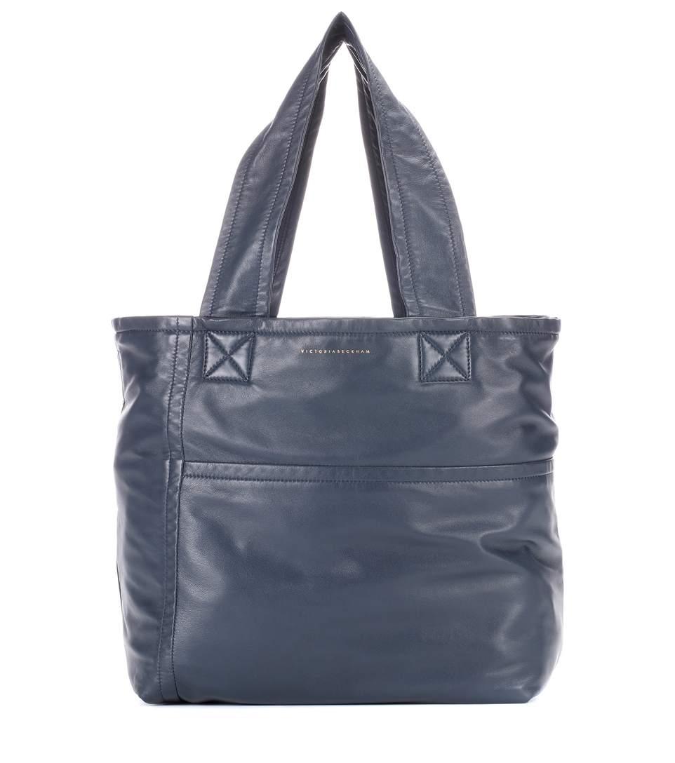 Victoria Beckham Mini Sunday Leather Shopper In Blue