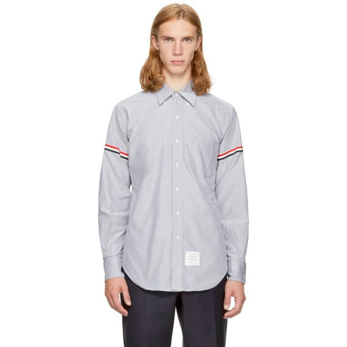 Thom Browne Navy Classic Point Collar Grosgrain Armband Shirt In Navy 415