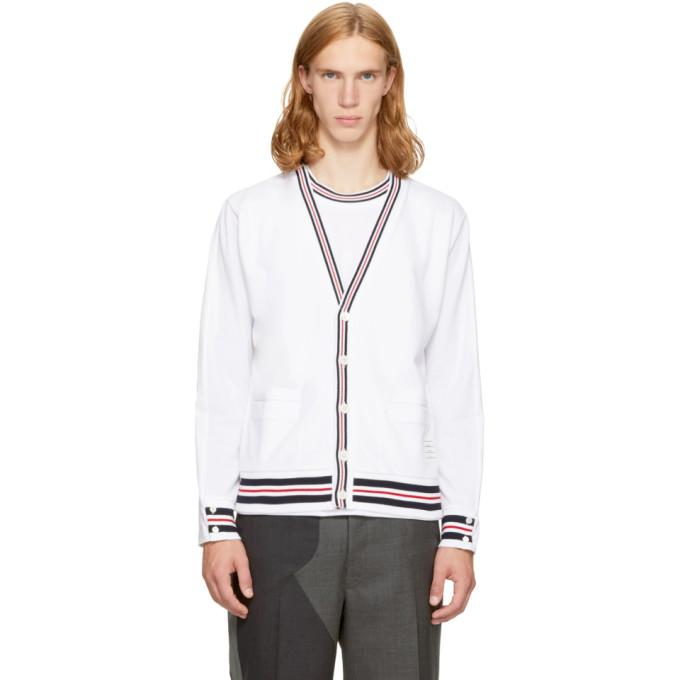 Thom Browne Reconstructed V-neck Cardigan & Long Sleeve Pocket Tee In White
