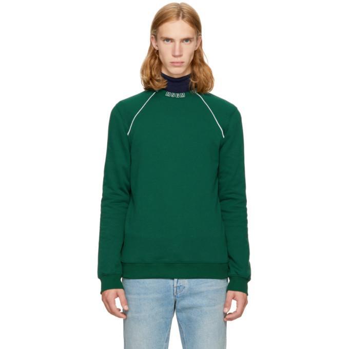 Msgm Logo Cotton Sweatshirt In 38 Green