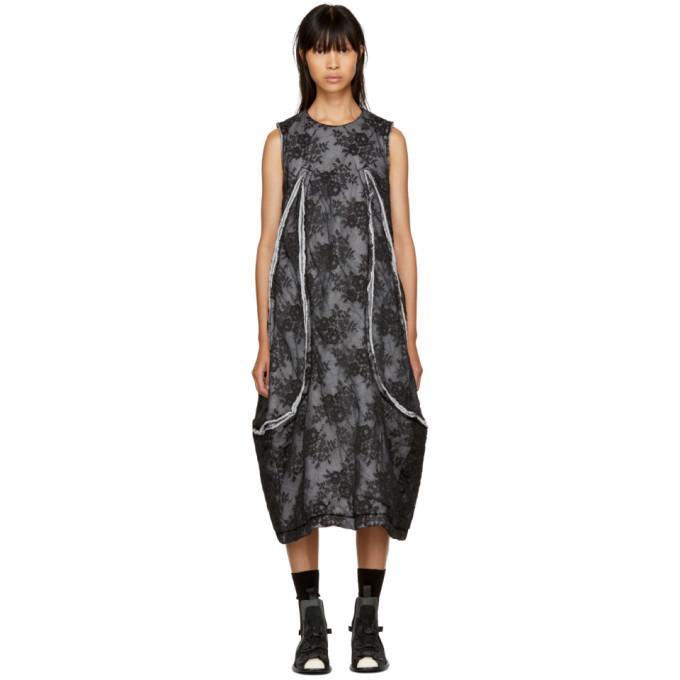 Comme Des GarÇons Comme Des Garcons Black Padded Floral Lace Dress In Black X Black