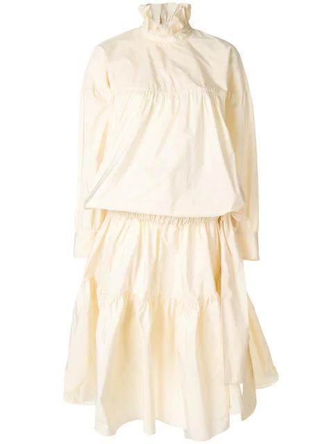 Kenzo Memento Tiered Light Taffeta Dress In Neutrals