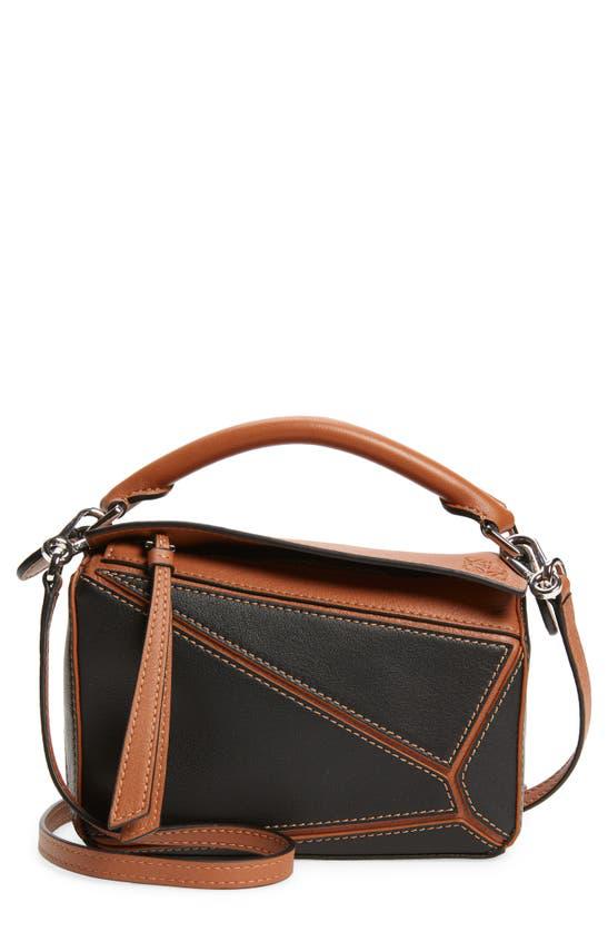 Loewe Mini Puzzle Leather Bag In Black