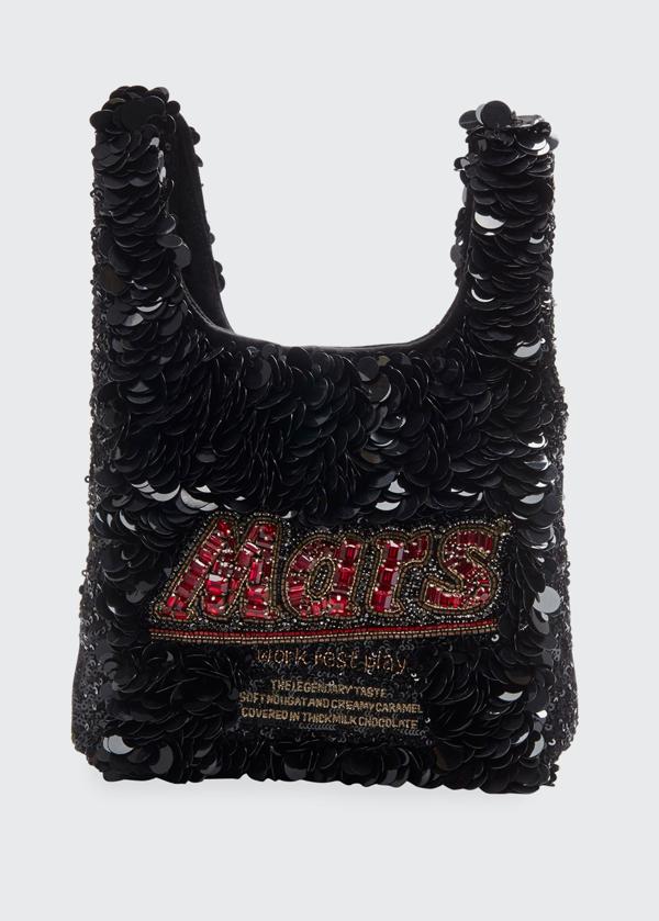 Anya Hindmarch Mars Bars Sequined Mini Tote Bag In Black