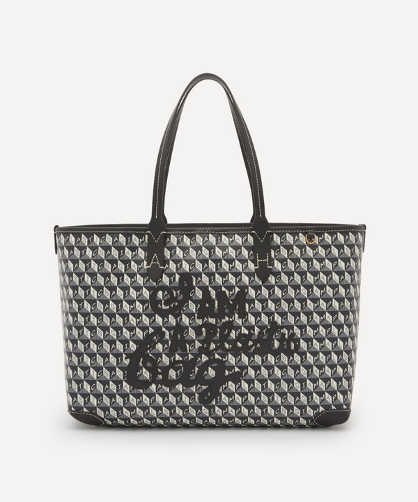 Anya Hindmarch I Am A Plastic Bag Small Motif Recycled Coated Canvas Tote Bag In Charcoal